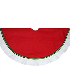 Christmas Traditions Cardinal Red with Green and White Border Christmas Tree Skirt