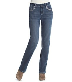 Earl Jean® Petites' Lace Patch Straight Leg Jean