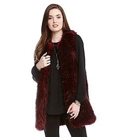 Karen Kane® Bordeaux Faux Fur Vest