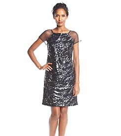 S.L. Fashions Sheer Sleeve Sequin Dress