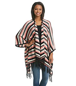 Kensie® Striped Fringe Poncho
