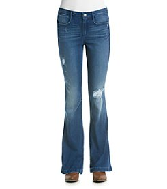 Suede Slim Flare Jeans