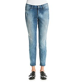 Suede Destructed Skinny Boyfriend Jeans