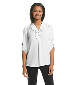 Sequin Hearts® Chiffon And Lace Utility Shirt