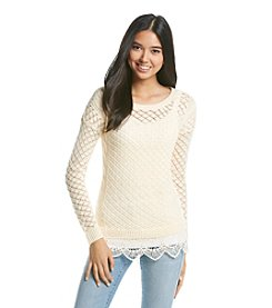 Sequin Hearts® Lace Trim Pullover Sweater