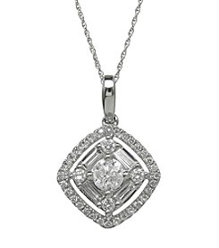 10K White Gold 0.75ct tw Diamond Pendant Necklace