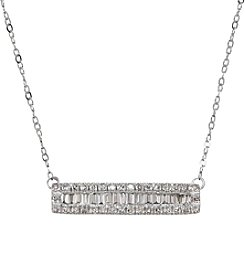 10K White Gold 0.25ct tw Diamond Bar Necklace