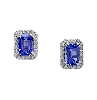 Effy® Tanzanite Royale Collection 14K White Gold 0.25ct tw Diamond and Tanzanite Earrings