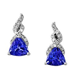 Effy® Tanzanite Royale Collection 14K White Gold 0.16ct tw Diamond and Tanzanite Earrings