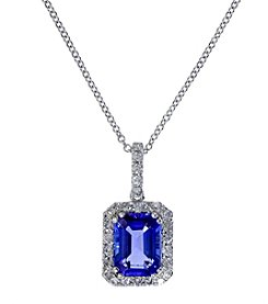 Effy® Tanzanite Royale Collection 14K White Gold 0.23ct tw Diamond and Tanzanite Pendant