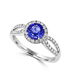 Effy® Tanzanite Royale Collection 14K White Gold 0.29ct tw Diamond and Tanzanite Ring