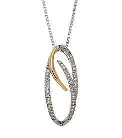 Sterling Silver Pendant with 14K Yellow Gold Accent and 0.16ct Diamond Accent