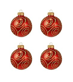 Christmas Ornament 4-ct. Red Swirled Gold Glitter Glass Balls