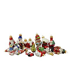 18-ct. Snowman, Santa Suit, Bear and Angel Glass Figure Christmas Ornaments