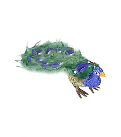 Colorful Green Regal Peacock Bird with Closed Tail Feathers and Clear Gemstones