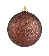 Shatterproof Mocha Brown Holographic Glitter Christmas Ball Ornament