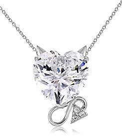 Sterling Silver & Created White Sapphire with Diamond Accent Devil Slide Pendant Necklace