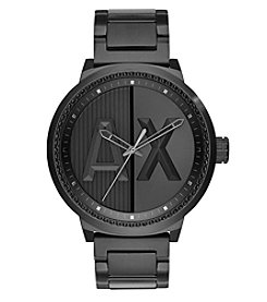 A|X Armani Exchange Men's Blacktone IP Stainless Steel Watch With Black Glitz