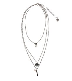 Sandra Magsamen® Silvertone Three Row Key Hope And Faux Pearl Necklace