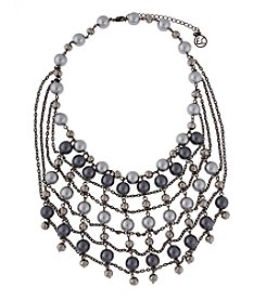 Erica Lyons® Hematite Tone My Grey Retro Beaded Web Front Necklace
