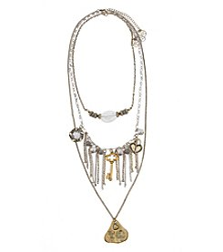 Erica Lyons® Two-Tone 7 Ways-To-Wear Stone, Key and Live Life Necklace Set
