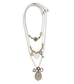 Erica Lyons® Tri-Tone 7-Ways-To-Wear Stone, Key and Live Life Necklace Set