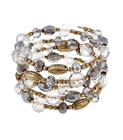 Erica Lyons® Goldtone Glass Slipper Beaded Coil Bracelet