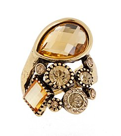 Erica Lyons® Goldtone Stone and Flowers Fashion Stretch Ring