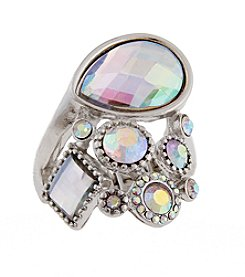 Erica Lyons® Silvertone Stone and Flowers Fashion Stretch Ring