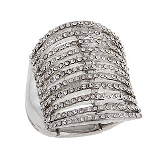 Erica Lyons® Silvertone Eleven Bar Fashion Stretch Ring