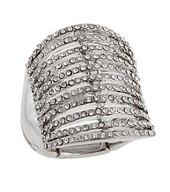 Erica Lyons® Silvertone Eleven Bar Fashion Stretch Ring