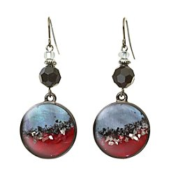 Laura Ashley® Red And Hematite Circle Drop Earrings