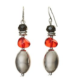 Laura Ashley® Red And Silvertone Beaded Drop Earrings