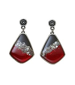 Laura Ashley® Red And Silvertone Post Top Drop Earrings