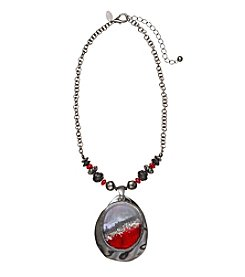 Laura Ashley® Red And Hematite Layered Pendant Necklace