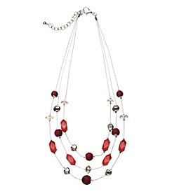 Studio Works® Three Row Silvertone And Red Beaded Illusion Necklace
