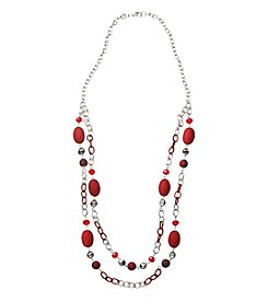 Studio Works® Two Row Silvertone And Red Matte Beaded Necklace