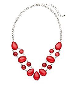 Studio Works® Silvertone And Red Cabochon Frontal Necklace