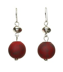 Studio Works® Silvertone And Red Double Drop Earrings