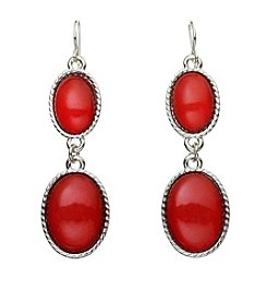 Studio Works® Silvertone And Red Cabochon Oval Earrings