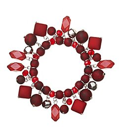 Studio Works® Silvertone And Red Beaded Shaky Bracelet