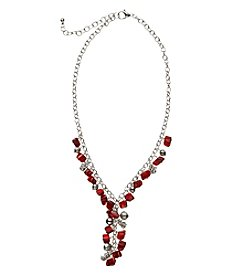 Studio Works® Y-Neck Silvertone And Red Shell Necklace