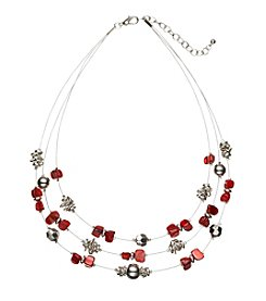 Studio Works® Silvertone And Red Shell Beaded Illusion Necklace