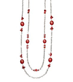 Studio Works® Two Row Silvertone And Red Beaded Necklace