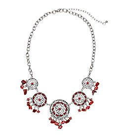 Studio Works® Silvertone And Red Circle Frontal Necklace