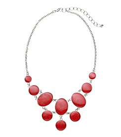 Studio Works® Silvertone And Red Enamel Frontal Necklace