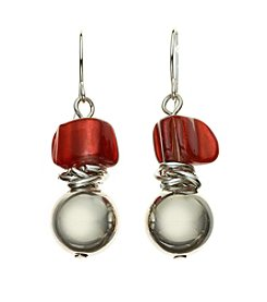 Studio Works® Silvertone And Red Shell Beaded Drop Earrings