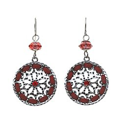 Studio Works® Pierced Silvertone And Red Disc Drop Earrings