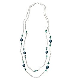 Studio Works® Teal and Silvertone Two Row Teal Beaded Frontal 36