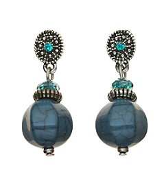 Studio Works® Teal and Silvertone Post Beaded Drop Earrings